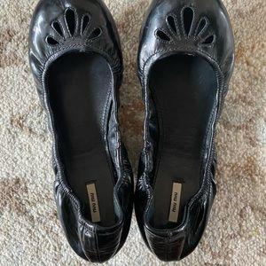 Miu miu leather ballet flats black size 8.5 womens